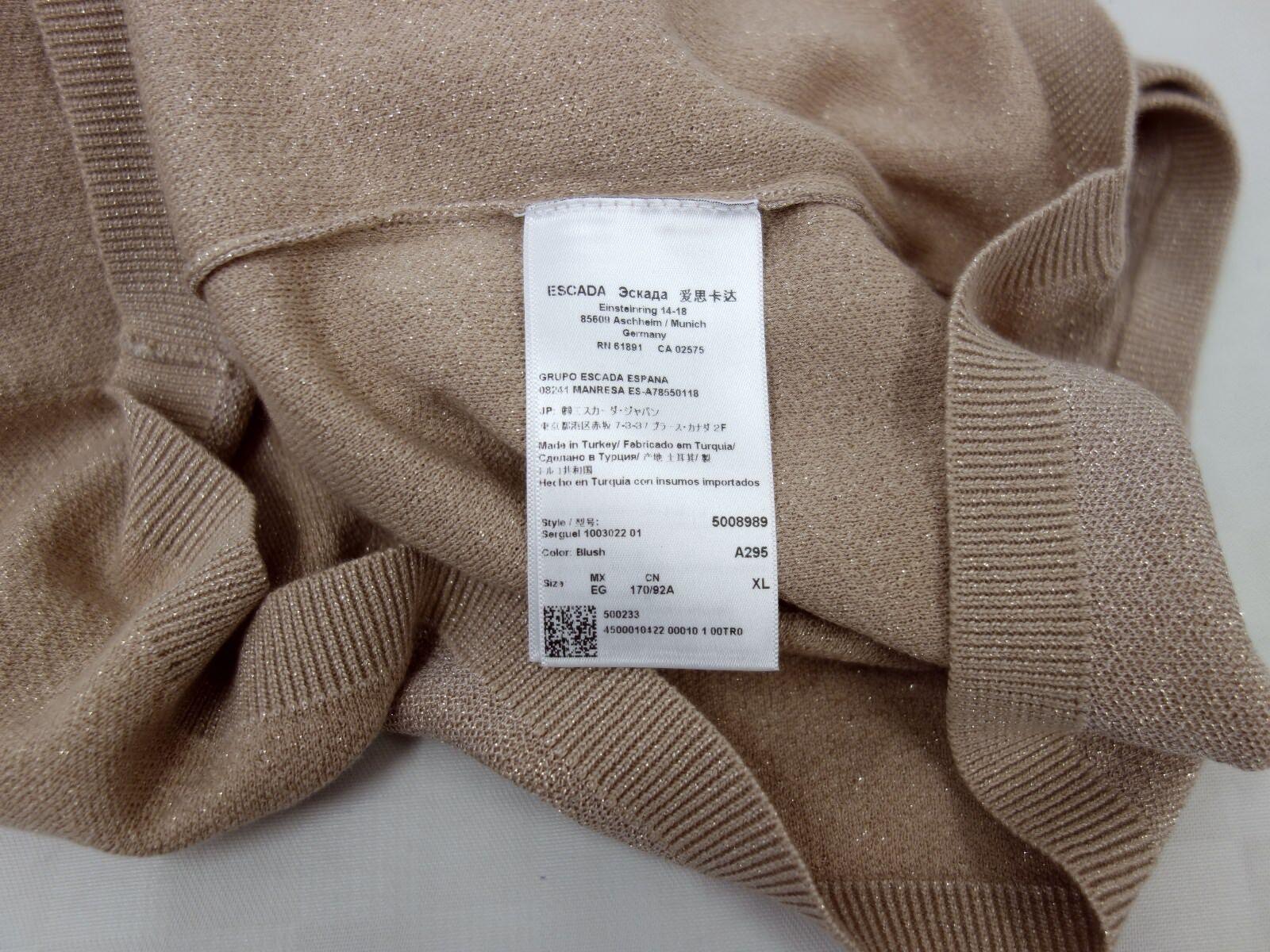 NUOVO Pullover Escada Designer Taglia Taglia Taglia XL 42 U-scollatura LUREX GLITTER CIPRIA BEIGE a856a1