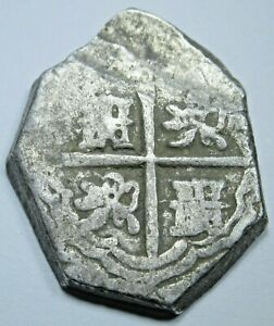 1600-039-s-Spanish-Silver-2-Reales-Piece-of-8-Real-Colonial-Two-Bit-Pirate-Cob-Coin