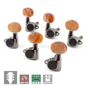 CHROME NEW Gotoh SG381-P2 MGT Locking Tuners L3+R3 LARGE AMBER Buttons 3x3