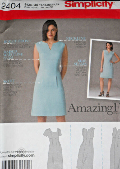 Dress 3 Variations Misses Size 16 24 Simplicity 2404 Sewing Pattern