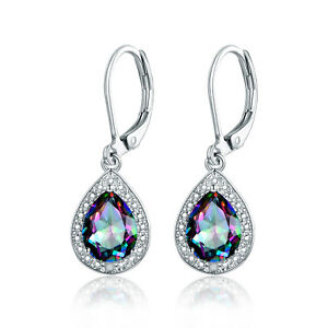 White Gold Plated 4.00CTTW Topaz & Diamond Accent Drop Earrings