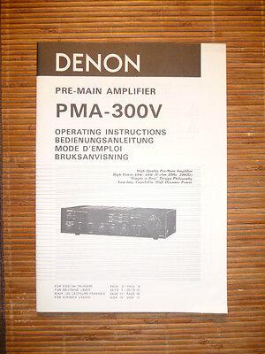 Tv, Video & Audio Genossenschaft Bedienungsanleitung/operating Instructions Für Denon Pma-300v original