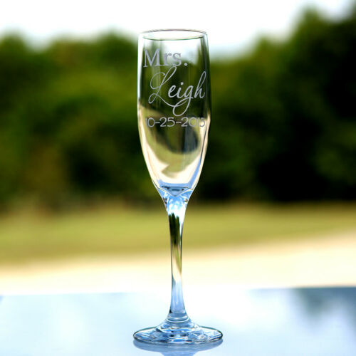 2 Etched Engraved Personalized Mr Champagne Flute Glasses Wedding Gift and Mrs