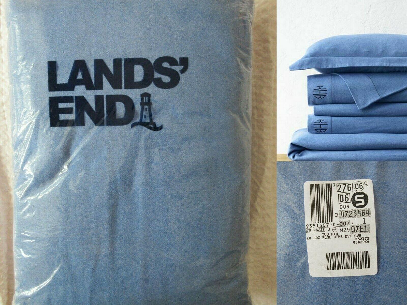 239 NWT Lands End 6oz 100% Cotton Flannel Duvet Cover King Größe Oeko-Tex Blau