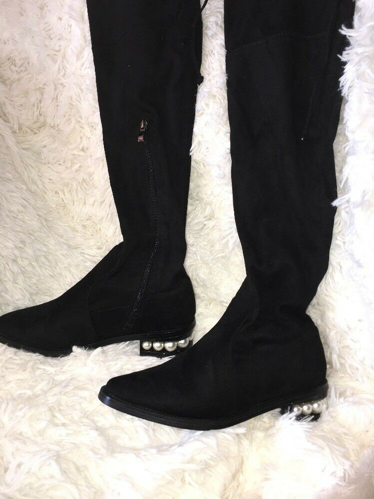 CATHERINE MALANDRINO black BOOTS PEARL HEEL SIZE SIZE SIZE 7 new 9d34b6