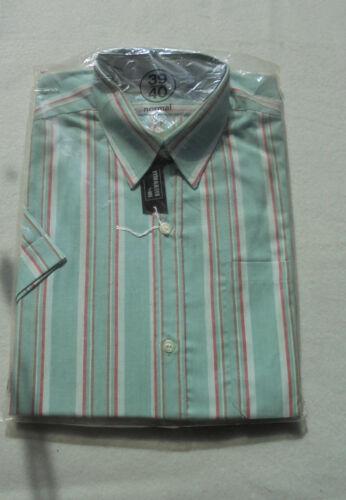 Camicia uomo Camicia TG 39//40 m in verde rosso e blu NUOVO COTONE braccio corto