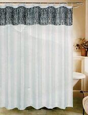 "Zebra Print White & Black Fabric Shower Curtain 70""x72"" Beatrice Home Fashions"