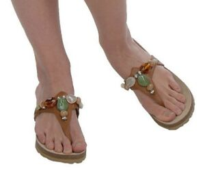 c0f6968c141a23 Image is loading White-Mountain-Leather-Thong-Sandals-w-Stone-Detail