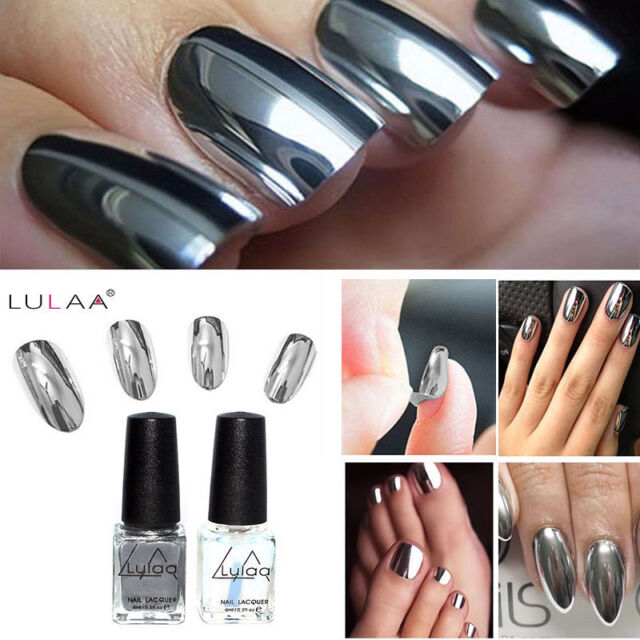 2pcs Mirror Effect Chrome Metallic Silver Nail Art Varnish Polish