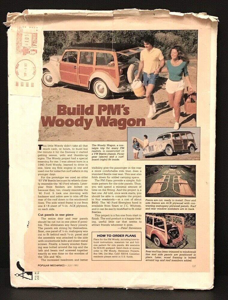 1983 Plans Woody Wagon Woodie for VW Full Scale Cut Outs Pattern