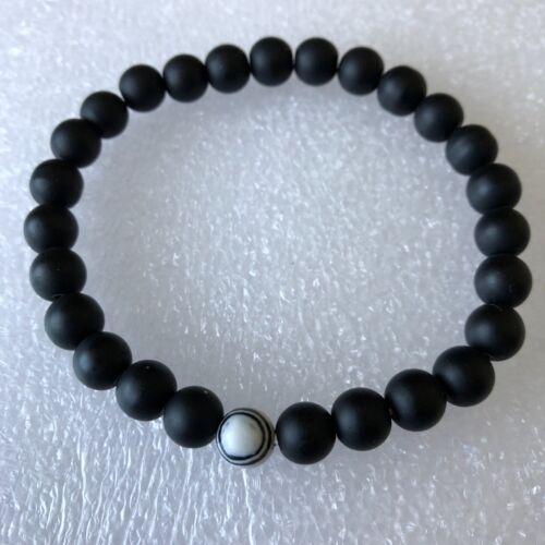 Evil Eye Spiral Black Agate Crystal Spiritual Balance Healing Matte Bracelet 7.5