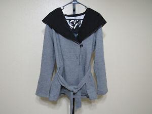 b4ccf8030e6 NWT Sebby Womens Hooded Fleece Jacket-Color-Gray Tweed Black-Size ...