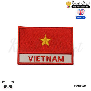 VIETNAM-National-Flag-With-Name-Embroidered-Iron-On-Sew-On-Patch-Badge
