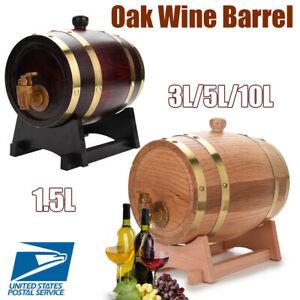 1-5L-3L-5L-10L-Retro-Oak-Wine-Barrel-Dispenser-Beer-Whiskey-Rum-Port-Wood-Keg-US