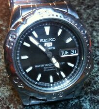 SS SEIKO 5 SPORTS DIVERS WATCH  7S36-0203 AUTO DAY DATE 23J BLACK FACE, SS BAND