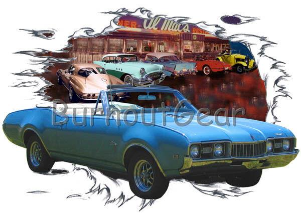 1968 Blau Oldsmobile Cutlass Convertible HotRod Diner T-Shirt 68 Muscle Car Tee