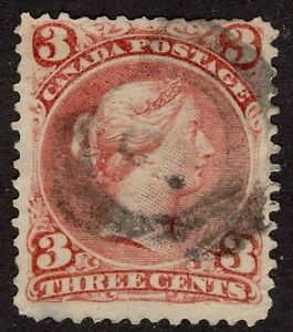 CANADA-used-25-2-Ring-2-with-MARKS-DOTS-in-Large-Queen-Issue-1868-FINE