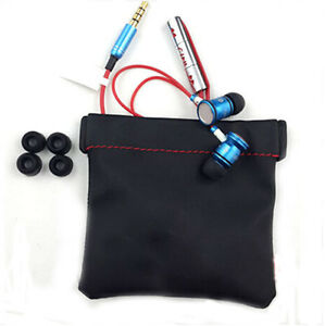Black-PU-Leather-Replacement-Carrying-Pouch-Case-Bag-For-Earphone-Headphone-New