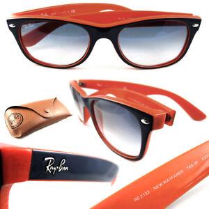 a14b1f3f4 New RAY-BAN New Wayfarer RB 2132 789/3F Blue/Orange w/Light Blue ...