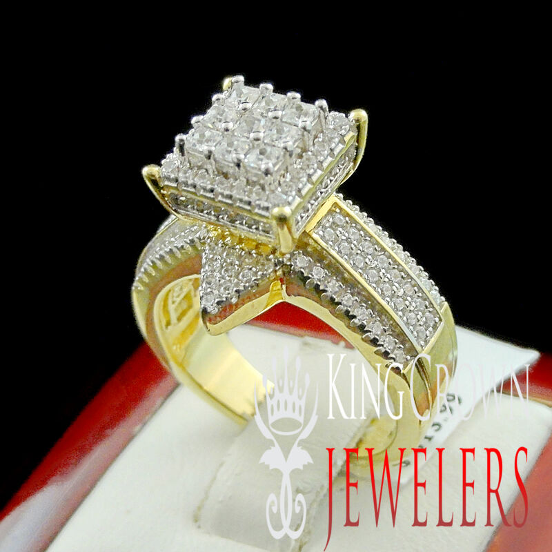 Da Donna argentoo Vero 14K 14K 14K Finitura oro Giallo Fidanzamento Sposa Matrimonio 3975a0