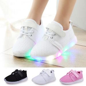 8993e3b16 LED Baby Boys Girls Shoes Kids Light Up Luminous Trainers Sport ...