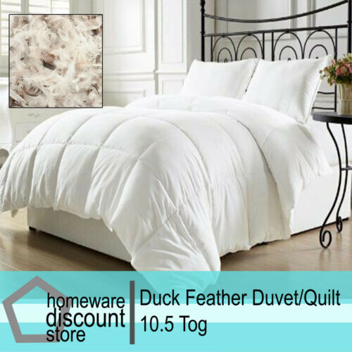 10.5 Tog Duck Feather  Quilts Duvets Single Double King Super King Size Quilt