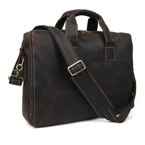 Vintage-Men-039-s-Leather-14-034-Laptop-Briefcase-Messenger-Bag-Crossbody-Work-Satchel