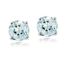 925 Sterling Silver 1ct Genuine Aquamarine Round 5mm Stud Earrings