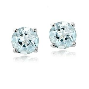 Image Is Loading 925 Sterling Silver 1ct Genuine Aquamarine Round 5mm