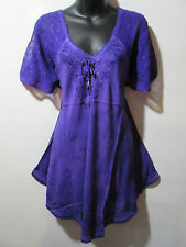 Top Fits XL 1X 2X 3X Plus Long Tunic Purple Floral Lace Sleeve A Shaped NWT G788