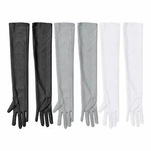 14edeef32 Women's Nylon Gloves Long Sleeve Arm Finger Bridal Wedding Costume ...