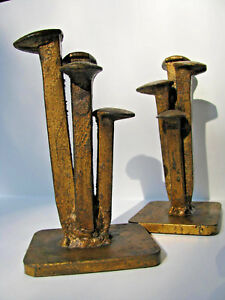 Curtis-Jere-Abstract-vintage-metal-sculpture-nail-Bookends-Signed-amp-Dated-1968