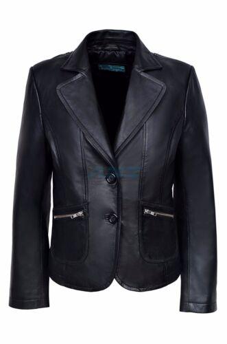 2 nera pelle vera da da bottoni in con donna donna blazer Giacca wXq76W0n