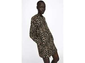 f1998d2a08b9 Image is loading ZARA-Jacquard-Taupe-Brown-Animal-Leopard-Print-Wool-