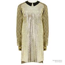 Stella McCartney Shimmer Metallic Gold Contrast Sleeve Silk Blend Dress IT38 UK6