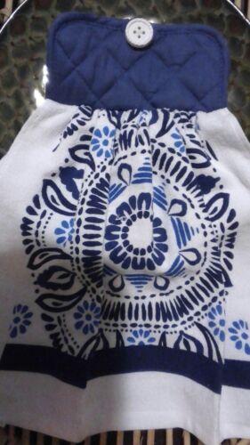 Mandala Style Double Thickness Hanging Towel Potholder Top Blues /& White