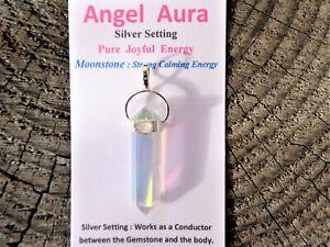 Angel-Aura-Quartz-MOONSTONE-Silver-Pendant-GoddessEnergy-24KGold-Platinum-Silver