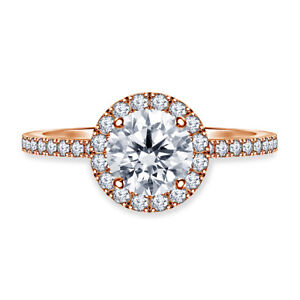 1.00 Ct Round Cut Real Moissanite Anniversary Ring 14K Solid Rose Gold Size 5