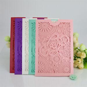 10pcs Wedding Invitation Laser Cut Envelope Card Seal Free Chinese Custom
