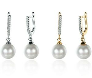 GORGEOUS-AAA-12-10mm-South-Sea-White-Baroque-Pearl-Earring-14K-GOLD-FILLED-ITALY