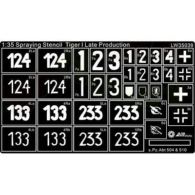 Alliance 35032 1//35  Paint Template for Tiger I Early sPzAbt 503