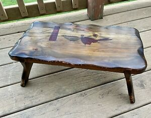 Vintage Rustic Wood Foot Stool Unique Hand Carved Pheasant Field Scene Foot Rest