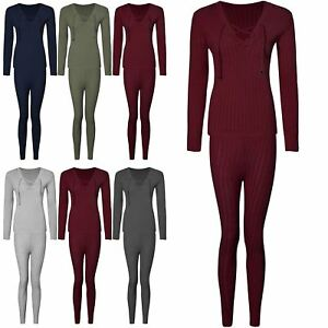 Ladies Womens Ribbed Lace Up Sweatshirt Joggers Loungewear Set Tracksuit UK 8-14