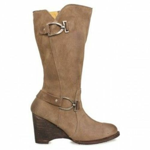 NEW FREE PEOPLE  265 BED STU SAND MONARCH SUEDE LEATHER WEDGE BOOTS SZ 9
