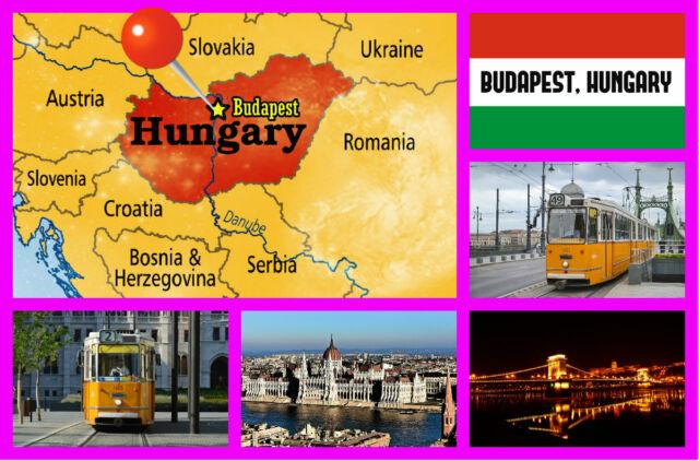 Budapest, Hungría - Recuerdo Original Imán de Nevera - Monumentos/Banderas