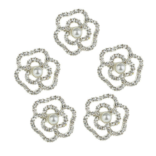 5x Rose Flower Crystal Pearl Shank Buttons for Wedding Dress Decoration 18mm