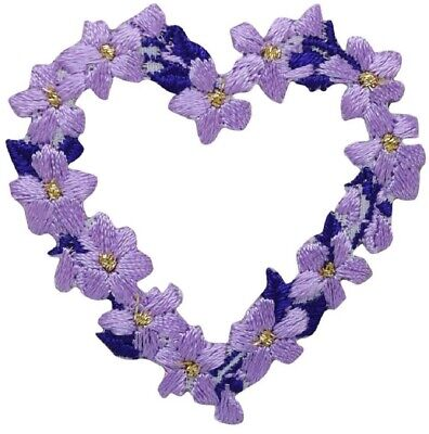 Love Embroidered Iron On Applique Patch Flowers Lavender LG Heart