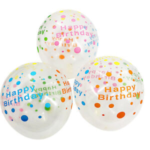 10x Clear Transparent Lettering Happy Birthday Balloons Latex
