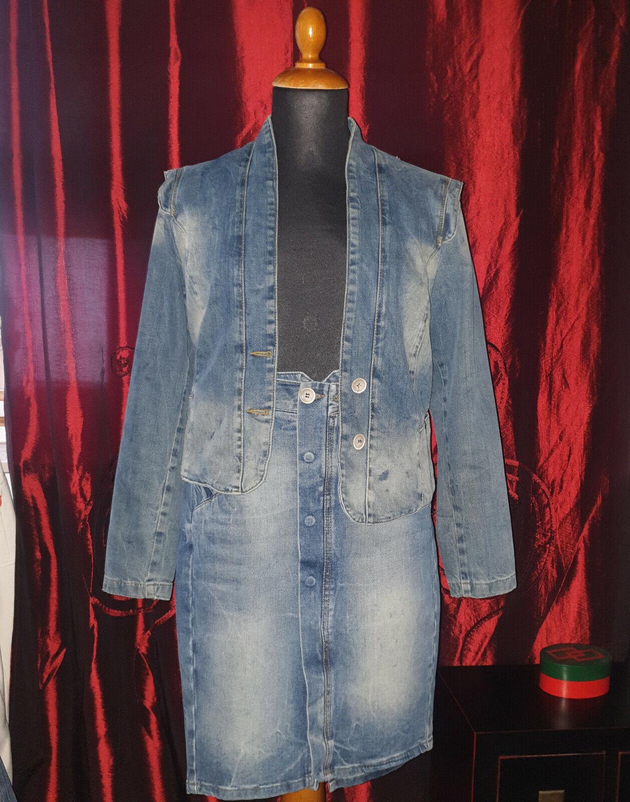 Jeans-Kostüm ZARA WOMAN Gr.34 (Rock) und L (Jacke)