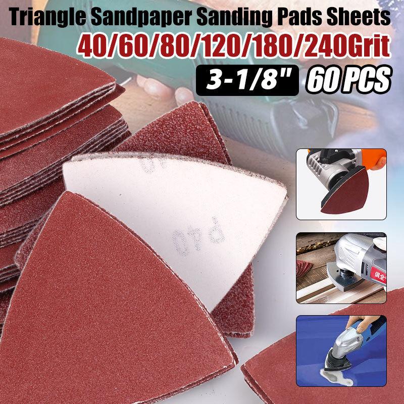 60 Pcs New Triangle Sanding Paper Pads Assorted Sandpaper Oscillating Multi-Tool
